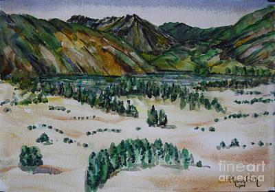 Phong Trinh Painting - Hill Lake And Mountain View by Phong Trinh