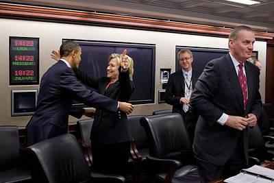 Hillary Clinton Joyfully Congratulates Art Print by Everett