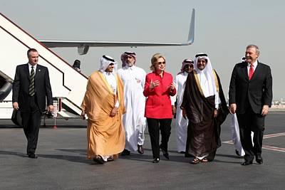 Hillary Clinton With Us And Qatari Art Print