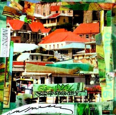 Red Roof Mixed Media - Hillside by Currie Silver