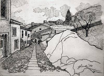 Streetscape Drawing - Hilltown Road Central Portugal by Lester Glass