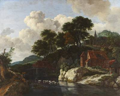 Landscape With River Painting - Hilly Landscape With A Watermill by Jacob Isaaksz Ruisdael