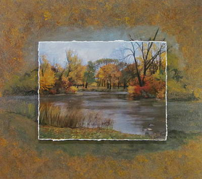 Mixed Media - Himboldt Park Lagoon Layered by Anita Burgermeister