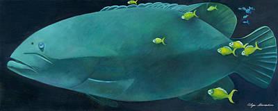 Hatchery Painting - Hindenberg Grouper by Olga Stamatiou