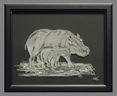 Carved Glass Painting - Hippos Mother And Baby by Akoko Okeyo