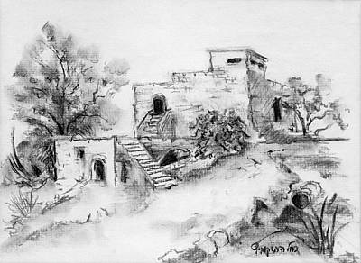 Painting - Hirbe Landscape In Afek Black And White Old Building Ruins Trees Bricks And Stairs by Rachel Hershkovitz