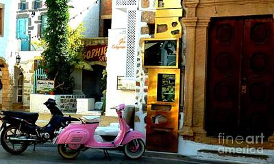 His And Hers Vespas At The Gallery Art Print by Therese Alcorn