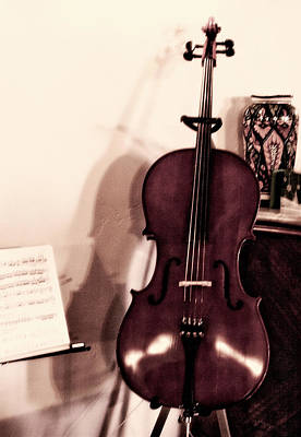 Photograph - His Cello by Lorraine Devon Wilke