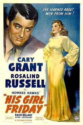 His Girl Friday, Cary Grant, Rosalind Art Print