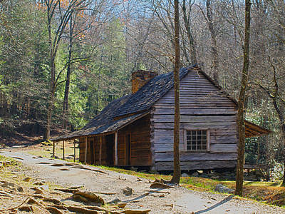 Art Print featuring the photograph Historic Cabin On Roaring Fork Motor Trail In Gatlinburg Tennessee  by Peter Ciro