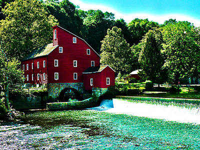 Historic Clinton Red Mill  Art Print by Artistic Photos