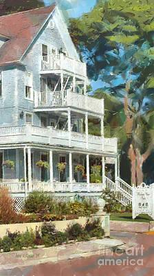 Island Stays Painting - Historic Harbour View Inn B And B Mackinac Island Michigan by Anne Kitzman