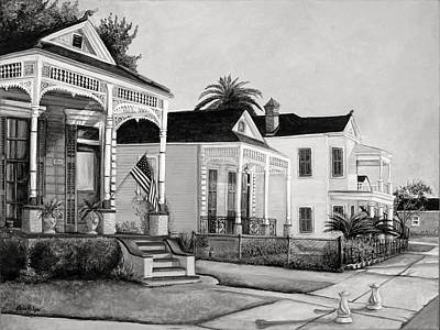 South Louisiana Painting - Historic Louisiana Homes In Black And White by Elaine Hodges