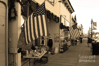 Historic Niles District In California Near Fremont . Main Street . Niles Boulevard . 7d10692 . Sepia Art Print by Wingsdomain Art and Photography