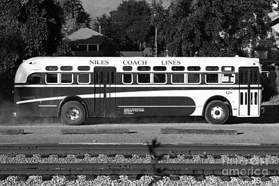 Niles Depot Museum Photograph - Historic Niles District In California Near Fremont . Niles Coach Line Bus . 7d10803 . Bw by Wingsdomain Art and Photography