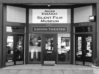 Historic Niles District In California Near Fremont . Niles Essanay Silent Film Museum . 7d10684 Bw Art Print by Wingsdomain Art and Photography