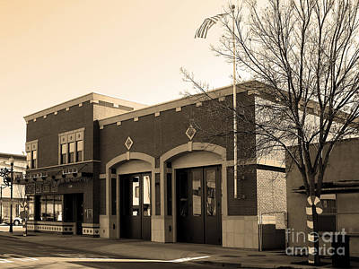 Historic Niles District In California Near Fremont . Niles Fire Station Number 2 . 7d10732 . Sepia Art Print by Wingsdomain Art and Photography