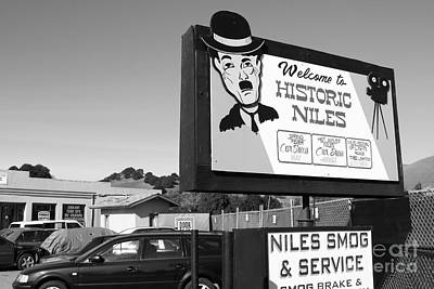 Historic Niles District In California Near Fremont . Welcome To Niles Sign . 7d10603 . Bw Art Print by Wingsdomain Art and Photography
