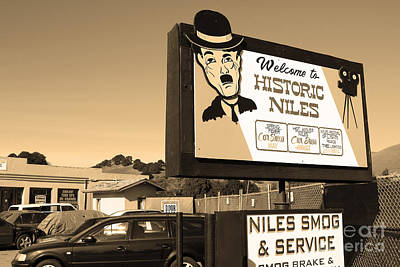 Historic Niles District In California Near Fremont . Welcome To Niles Sign . 7d10603 . Sepia Art Print