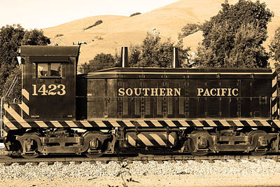 Niles Town Plaza Photograph - Historic Niles Trains In California . Southern Pacific Locomotive . 7d10829 . Sepia by Wingsdomain Art and Photography