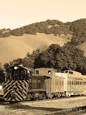 Historic Niles Trains In California.southern Pacific Locomotive And Sante Fe Caboose.7d10819.sepia Art Print by Wingsdomain Art and Photography