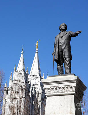 Historic Salt Lake Mormon Lds Temple And Brigham Young Art Print by Gary Whitton