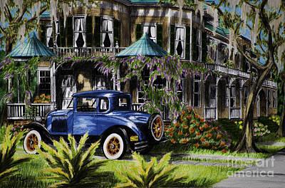 Ford Model A Drawing - Historic Savannah by Robert Thornton