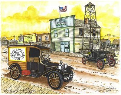 Ford Model T Car Drawing - Historic Shaniko Oregon by Bill Friday