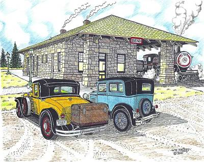Ford Model A Drawing - Historic Train Depot At Bend Or by Bill Friday