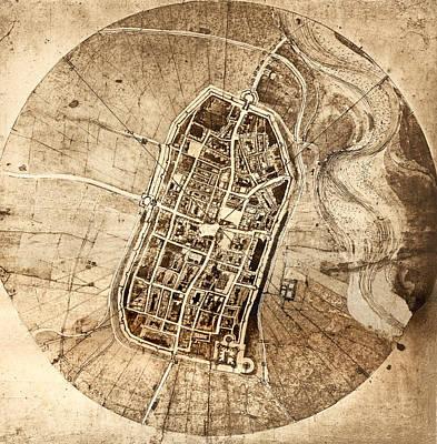 Borgia Photograph - Historical City Map Of Imola, Italy by Sheila Terry