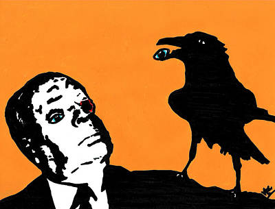 Funny Bird Drawing - Hitchcock And Raven On Orange by Jera Sky