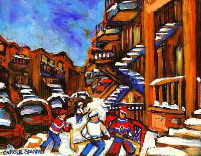 Hockey Art Boys Playing Street Hockey Montreal City Scene Art Print by Carole Spandau