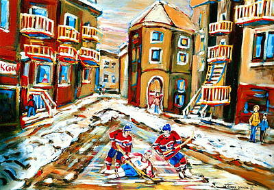 Kids Playing Hockey Painting - Hockey Art Hockey Game Plateau Montreal Street Scene by Carole Spandau