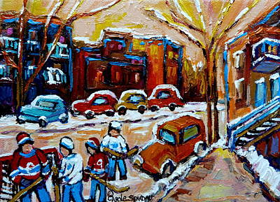 Kids Playing Hockey Painting - Hockey Art Montreal Staircases In Winter by Carole Spandau