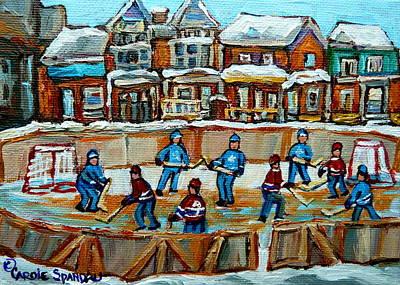 Montreal Canadiens  - Hockey Rink Montreal Street Scene by Carole Spandau