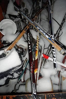 Art Of Hockey Photograph - Hockey Stick Battleground by Cyryn Fyrcyd