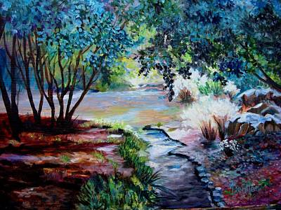 Art Print featuring the painting Hodges Garden Stream by AnnE Dentler