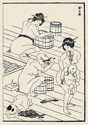 Hokusai: Bathhouse, C1836 Art Print by Granger