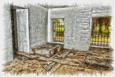Photograph - Holding Cell - Sketch by Nicholas Evans