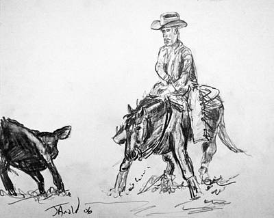 Drawing - Holding The Cow by Jim  Arnold