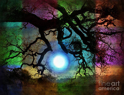 Multi Colored Digital Art - Holding The Moon by Laura Iverson