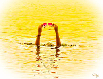 Holding The Sunnies - Yellow And Pink Art Print by Allan Rufus
