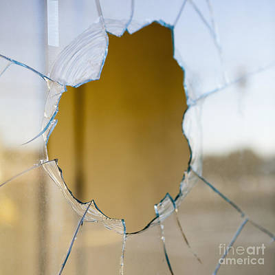 Vandalize Photograph - Hole In A The Glass Of A Window by Paul Edmondson