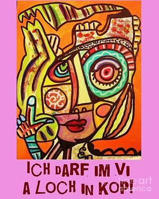 Shower Head Painting - Hole In My Head - Yiddish by Sandra Silberzweig