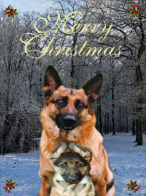 Friend Holiday Card Mixed Media - Holiday German Shepherd And Puppy by Eric Kempson
