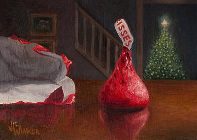 Art Print featuring the painting Holiday Kiss by Joe Winkler