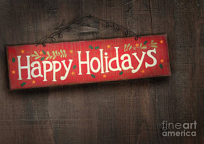 Holiday Sign On Distressed Wood Wall Art Print by Sandra Cunningham