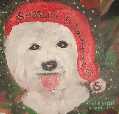 Holiday Westie Art Print by Rachel Carmichael
