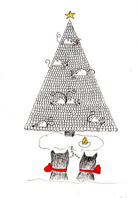 Cat Drawing - Holiday Wishes Do Come True by Lou Belcher