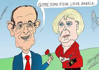 Binary Options News Cartoon Mixed Media - Hollande Merkel Caricature by OptionsClick BlogArt
